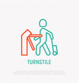 man with suitcase going through turnstile vector image vector image