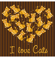 many cats forming a heart over background lines vector image vector image
