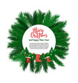 merry christmas and happy new year round label vector image vector image