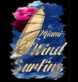 miami beach wind surfing vector image vector image