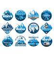 mountain tourism rafting and kayaking icons vector image