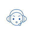 music listening emoji line icon concept music vector image vector image