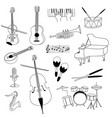 musical instruments guitar flute cello violin vector image