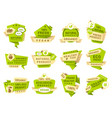 natural product labels patches templates vector image vector image