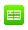 open book with a bookmark icon digital green vector image vector image
