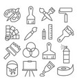 painting and drawing line icons on white vector image