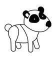 panda cartoon in black sections silhouette on vector image vector image