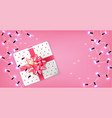 pink gift box and lights garland realistic vector image vector image