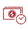 Red grunge buck time logo vector image vector image