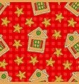 seamless pattern with gingerbread house vector image vector image