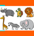 set cartoon happy animal characters vector image