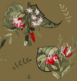 set seamless floral ornament orchid protea for vector image