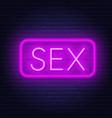 sex neon retro sign on dark background vector image vector image