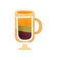 tasty layered drink in glass with handle sweet vector image