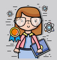 teacher woman with school tools education vector image vector image