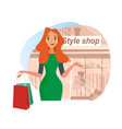 the concept girlfriends shopping in the style shop vector image