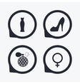 Wedding dress icon Women shoe sign Perfume vector image vector image