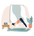 woman doing yoga and watching tutorials at home vector image