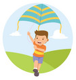 young boy playing kite in the field vector image vector image