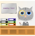 Cat Manager sits behind the Desk in the office and vector image