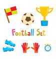 cartoon football icon set soccer vector image