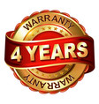 4 years warranty golden label with ribbon vector image vector image