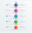 5 circle step infographic with abstract timeline vector image