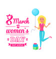 8 march international holiday of all women poster vector image vector image