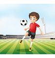 A football player in his red uniform vector image vector image