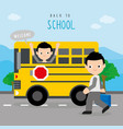 back to school bus road boy cartoon vector image vector image