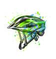 bicycle helmet from a splash watercolor hand vector image
