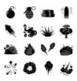 bomb explode icon set vector image vector image