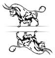 Bull cartoon in engraving style vector | Price: 1 Credit (USD $1)