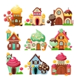 Candy Houses Icon Set vector image vector image