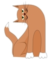 Cartoon cat with tilted head vector image vector image