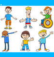 cartoon children and teens happy characters set vector image