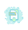 cartoon colored html file icon in comic style vector image