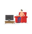 cartoon man watches tv concept vector image vector image