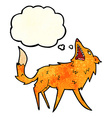 cartoon snapping fox with thought bubble vector image vector image