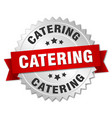 catering round isolated silver badge vector image vector image