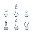 Chess pieces thin line icons king queen vector image