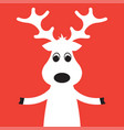 christmas moose on a red background vector image vector image