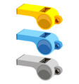 colorful cartoon referee whistle set vector image