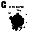 Cupid cartoon silhouette vector image vector image
