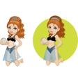 Cute young Caucasian woman in bikini vector image