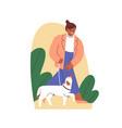 dog obeying heel command and walking on leash vector image