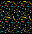 doodle seamless pattern hand drawn pop art signs vector image vector image