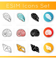 exotic sea shells icons set vector image vector image