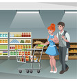 family shopping characters vector image vector image