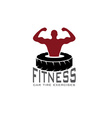 fitness car tire exercises design template vector image vector image